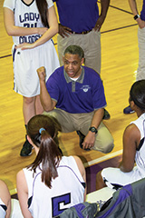 Always teaching, Faulkner used this timeout to focus his team on defense. Team members include daughters Madison and McCeeya, while his son, Mason, plays on the Colonels' boys squad.