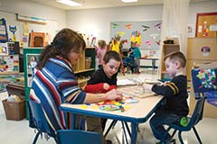 Students in this Head Start classroom, housed for now at the Lloyd McGuffey Sixth Grade Center, are happy, learning and probably unaware of the chaos caused by the fire in their wing of the Lincoln County Board of Education building. McGuffey Principal Jimmy Dyehouse said the staff and students there have enjoyed having the younger students in the building.
