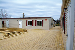 Construction of temporary classroom units was nearly completed in early January.