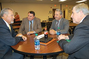 Roundtable discussions allowed participants to discuss local issues in greater detail. Here, Senate Education Committee Chairman Mike Wilson (R-Bowling Green), left, interacts with (left to right) Allen County Schools Superintendent Randall Jackson, Edmonson County Schools Superintendent Patrick Waddell and Russellville Independent Schools Superintendent Leon Smith.