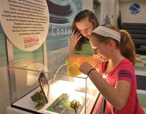 Fifth-graders Kendall Dailey and Ashley Peal look at a display that demonstrates how solar power works. University of Louisville students created this display.