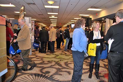 The Trade Show was a popular - and crowded - area for conference goers to mix and mingle with fellow board members and exhibitors.
