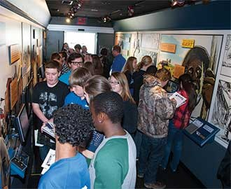 Several Mason County Middle School social studies classes used the HistoryMobile's touch screens to see a historically documented problem, choose from possible paths of action by the characters and finally see the potential benefits and consequences of each choice.