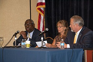 Legislative work also was highlighted during a panel discussion prior to the start of the Summer Leadership Institute. Pictured from left are House Education Committee Chairman Derrick Graham (D-Frankfort); Rep. Kelly Flood (D-Lexington), who co-chairs the House Budget Review Subcommittee on Primary and Secondary Education; and Senate Education Committee Chairman Mike Wilson (R-Bowling Green).
