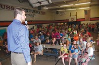 First-year Worthington Principal Kyle Russell had a packed house on the eve of his school's 87th opening day. Parents and their kids in grades 4-6 had orientation in the students' home rooms and then rotated so everyone met with each of the three teachers they will have on a daily basis.