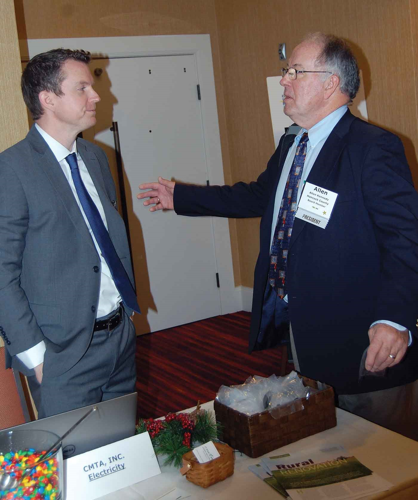 Conference attendees were able to spend time learning about school-related services with representatives of 18 education service vendors. KSBA President Allen Kennedy of Hancock County, right, chats with Jeremy Smith, head of Energy Solutions for CMTA, Inc. Consulting Engineers, one of the conference sponsors.  The weekend also included Kennedy's final time chairing a KSBA Board of Directors meeting, as his term as president will conclude with February's annual conference in Louisville.