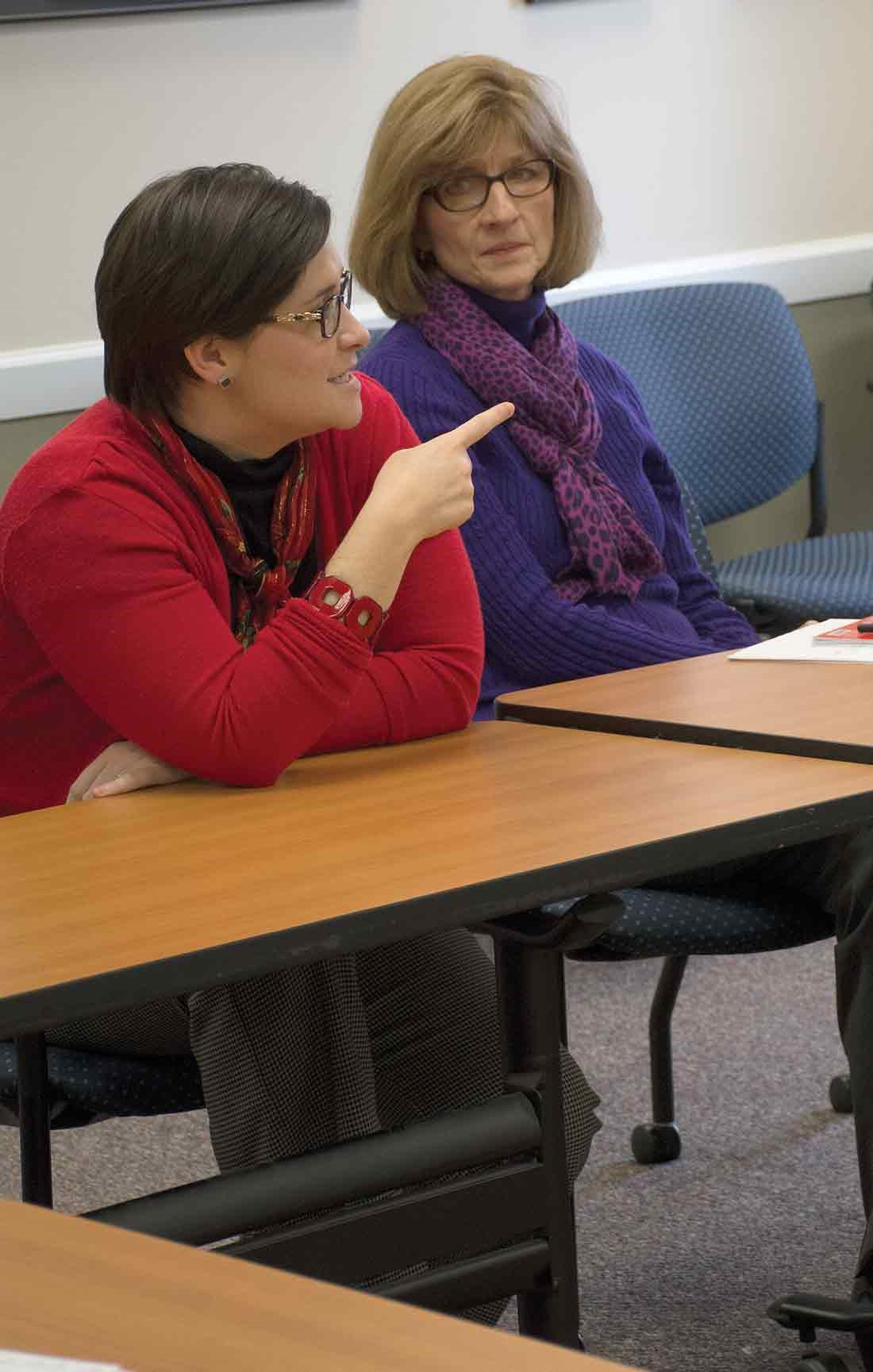 KSBA Director of Governmental Relations Hope McLaughlin makes a point during the charter school discussion as KSBA lobbyist Debbie Wesslund  listens. Other groups represented at the meeting were the Kentucky Department of Education, Kentucky Association of School Superintendents, Kentucky Retired Teachers Association, Kentucky Association of School Administrators, the Kentucky PTA and the Prichard Committee for Academic Excellence.