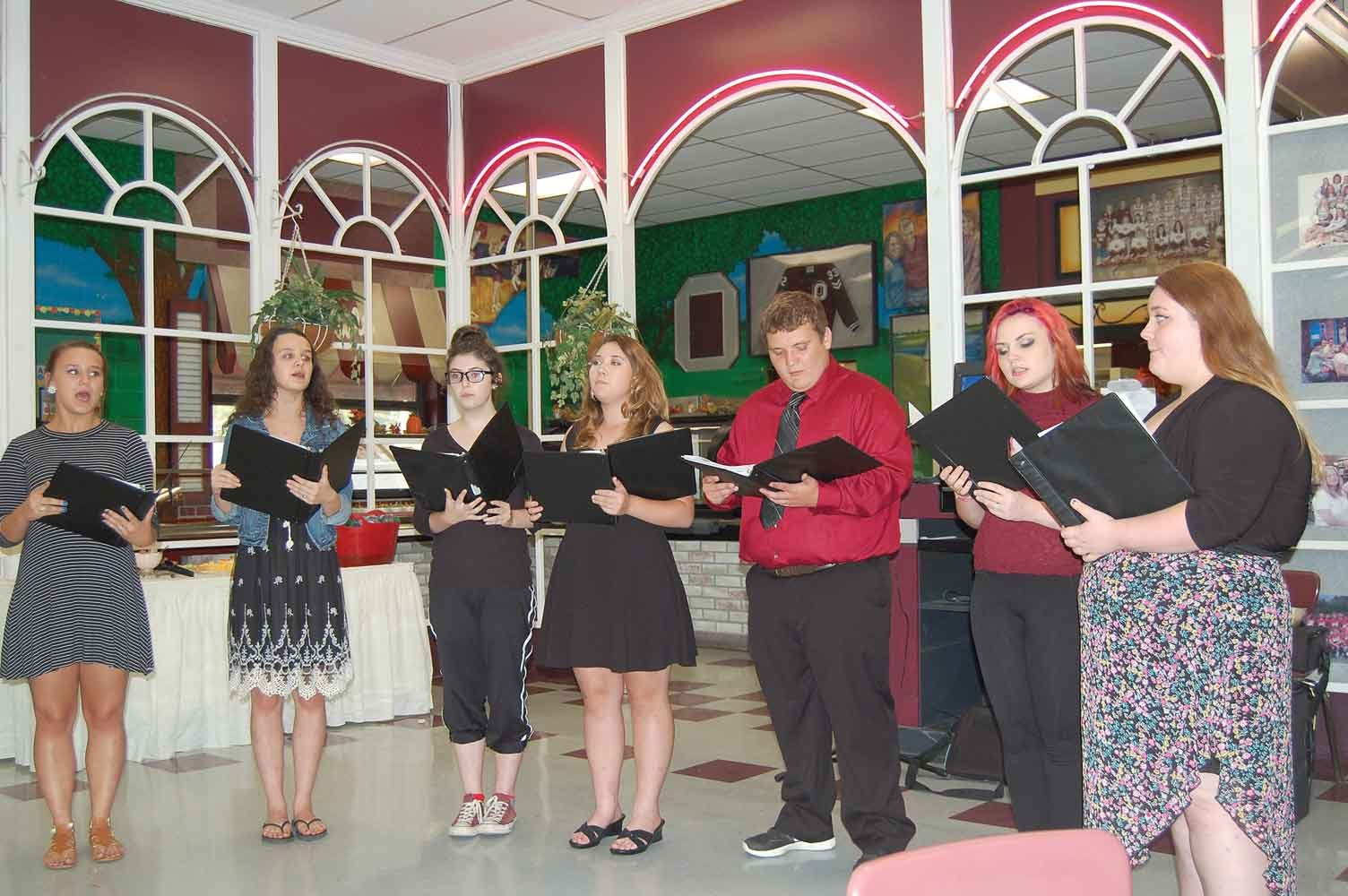 Members of the Owsley County High School Chorus serenaded attendees at the Upper Kentucky River meeting. Several sessions have featured student musicians – including a 40-plus member pep band – providing pre-dinner performances for the host districts' guests.