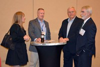 KSBA President David Webster talks with friends and colleagues during the President's Reception Saturday.