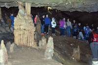 This formation of actively growing stalagmites and stalactites was shown to the Paintsville students just before all of the lights were turned off – an exercise to demonstrate why Native Americans couldn't travel far into caves lit only by primitive reed torches.