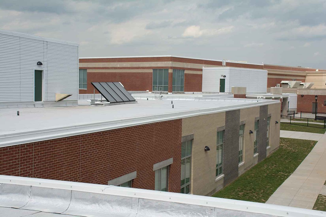 Solar panels are located on the roof of Norton Commons Elementary School.