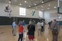 Doug Hundley with CMTA decribes the gym at Norton Commons Elementary. The school is one of only two in the nation that is connected to a YMCA, and the two share a gym and its energy costs.