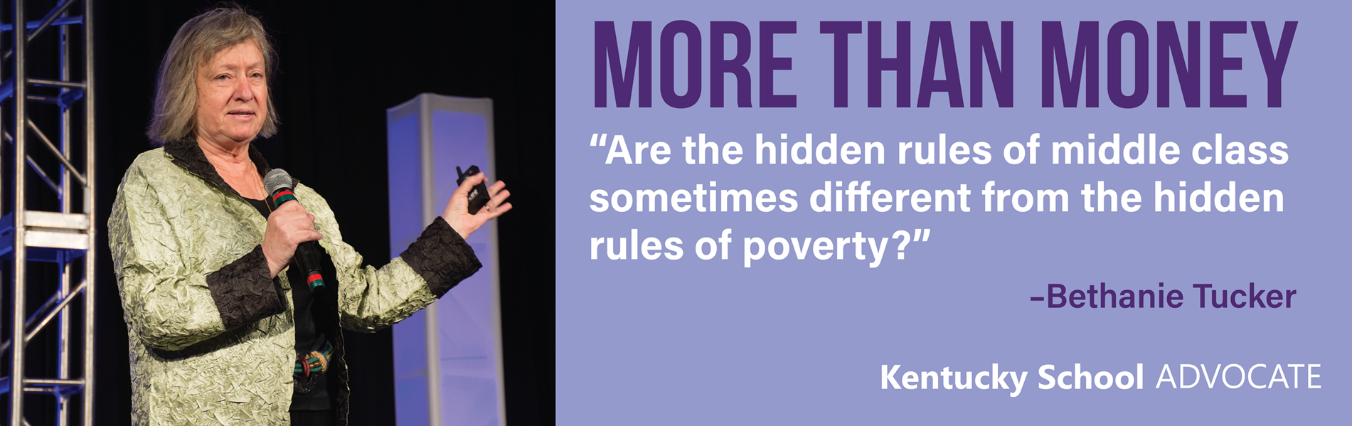 Bethanie Tucker discussed helping students in poverty at the KSBA Annual Conference