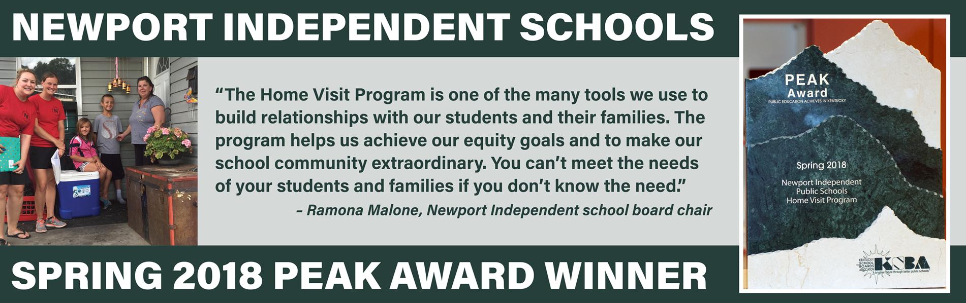Newport Independent wins spring PEAK Award