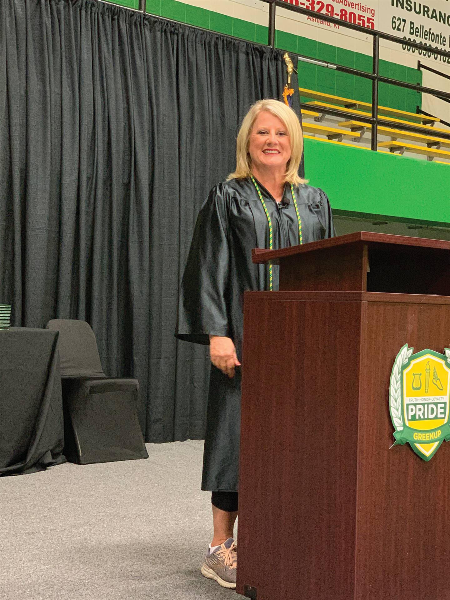 Greenup County school board chairwoman Mary Kay McGinnis-Ruark conferred the diplomas to the Greenup