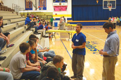 Veterinarian Matt Parker led a discussion of careers in agriculture in the Trimble County High gymnasium. Similar discussions in other parts of the gym were led by a lawyer, and representatives of education and cosmetology professions.