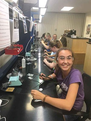 iLEAD Academy students work on a soldering project during an overnight field trip to the Craft Academy at Morehead State University. (Photo courtesy of iLEAD Academy)
