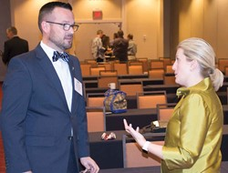 KSBA staff attorney Whitney Crowe talks with Shelby County school board member Will Barnett after her clinic session – An Introduction to Kentucky's Charter School Laws – during KSBA's Winter Symposium.