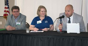 Chris Adkins (left), Britney Ragland and Scott Spalding spoke during the School Energy Summit last month about how they've lowered energy usage for their employers.