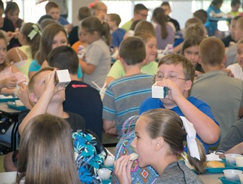 Students at West Irvine Intermediate in Estill County eat lunch during the second day of the new school year.