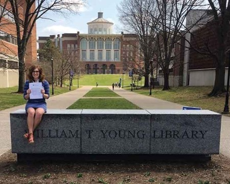 Morgan Stephens, a Fleming County High School graduate, proudly displays her acceptance letter to University of Kentucky's undergraduate Communication Sciences and Disorders program. (Photo submitted)