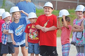 Lewis County students at the groundbreaking for the district's new elementary school. (Photo courtesy of Lewis County Herald)