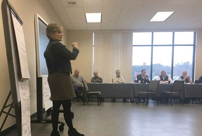 Laura K. Arnold, the state education department's associate commissioner for career and technical education, met recently in Corbin with school leaders, community members and business partners involved in the SE Ky. Regional Career Academy project.