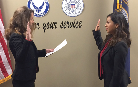 New Livingston County school board member Christine Thompson was sworn in prior to her first meeting. Thompson said she plans to focus on fiscal responsibility, transparency and bringing stability to the board. (Photo courtesy of Christine Thompson)