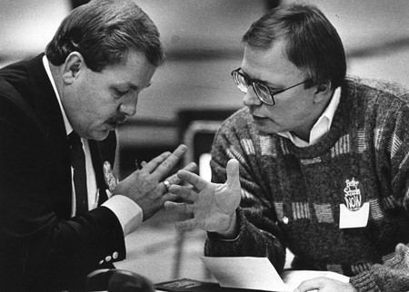 Michael King, superintendent Silver Grove Ind., and Ken Honchell, a Fort Thomas Ind. board of education member, at an education forum at Newport High School held in the wake of the Rose decision in November 1989.